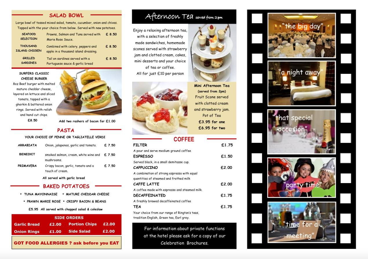 The Best Western Sea Hotel South Shields NE33 1LD Bar Menu 2