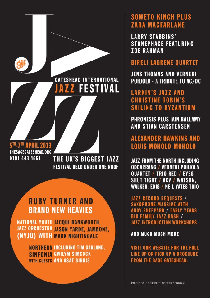 The Sage Gateshead 2013 International Jazz Festival Flyer