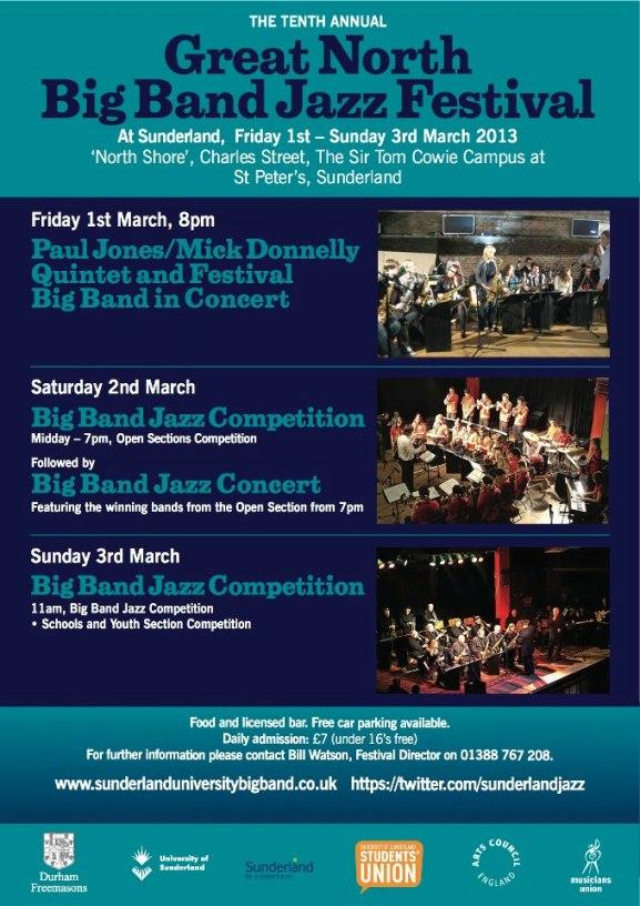 Great North Big Band Jazz Festival 2013 Flyer