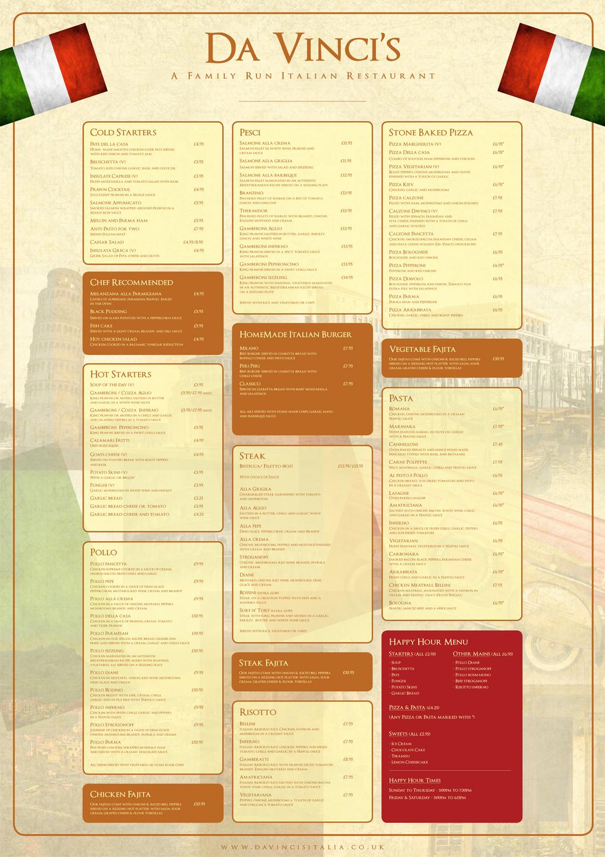 Da Vinci's Italian restaurant Ocean Road à la carte menu