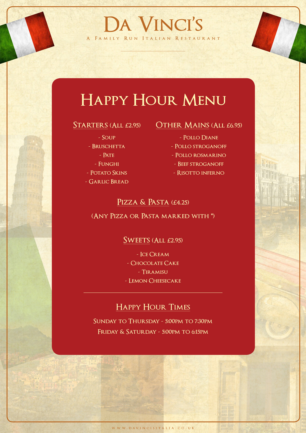 Da Vinci's Italian restaurant Ocean Road happy hour menu