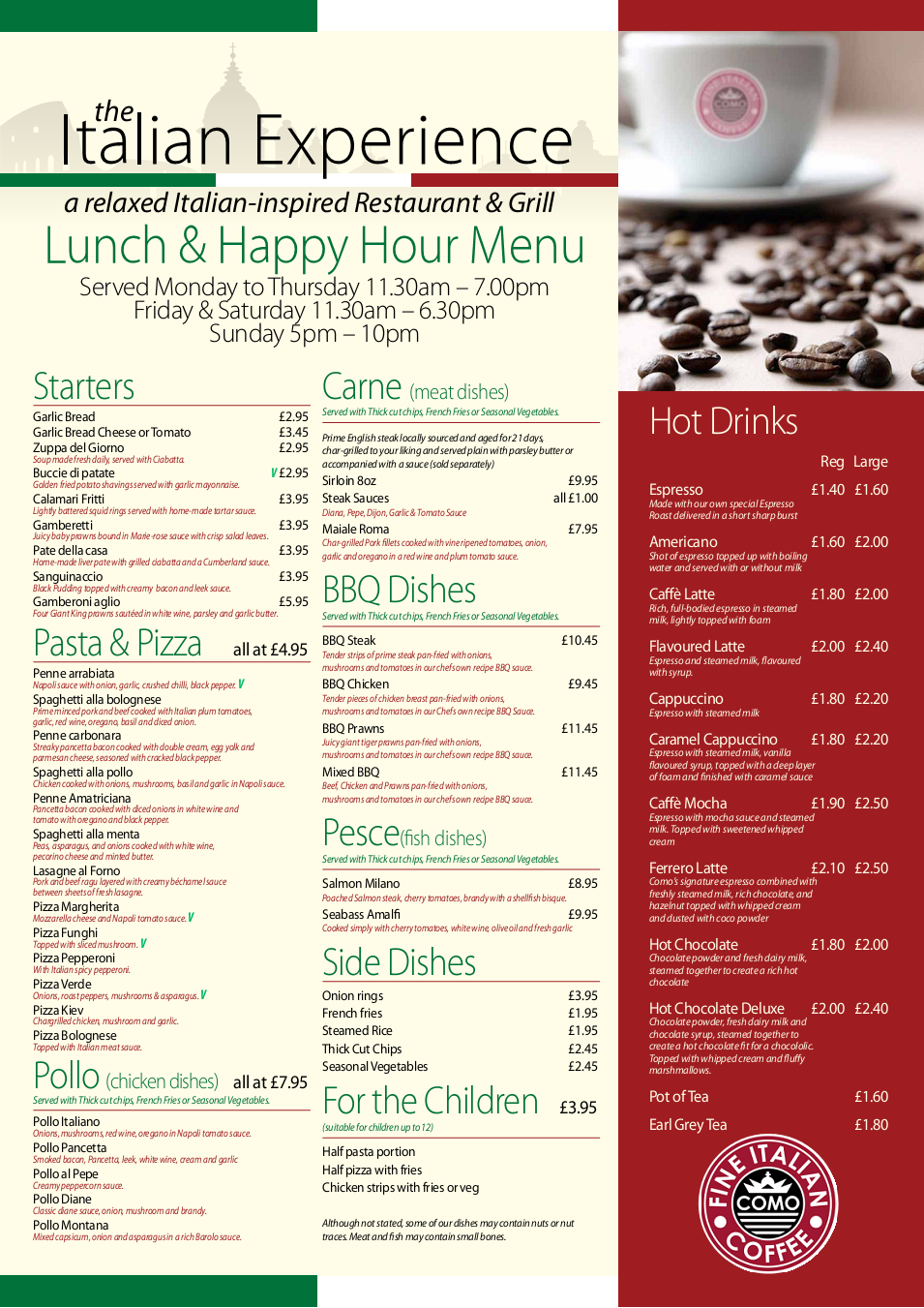 Martino's Restaurant In Seaburn Sunderland Lunch Menu