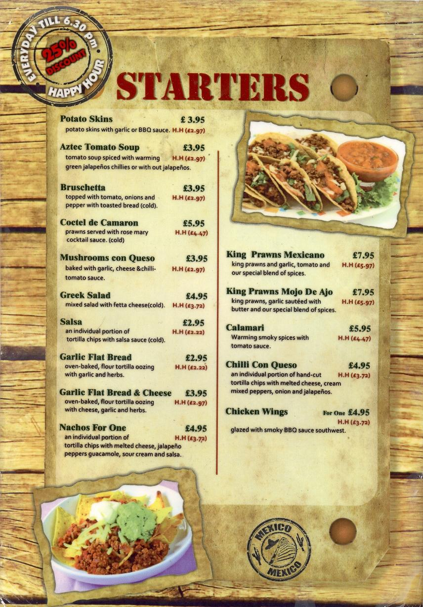 La Tortilla Mexican Restaurant In Whitley Bay Menu 1
