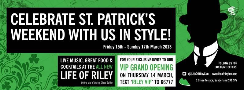 Life of Riley Green Terrace Sunderland SR1 3PZ banner 2