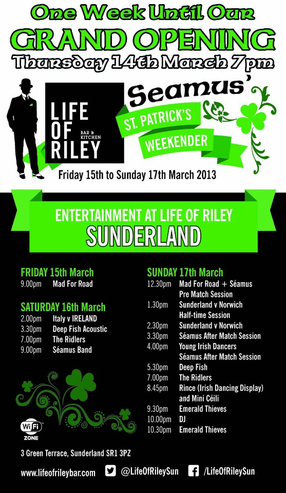 Life of Riley Green Terrace Sunderland SR1 3PZ Events