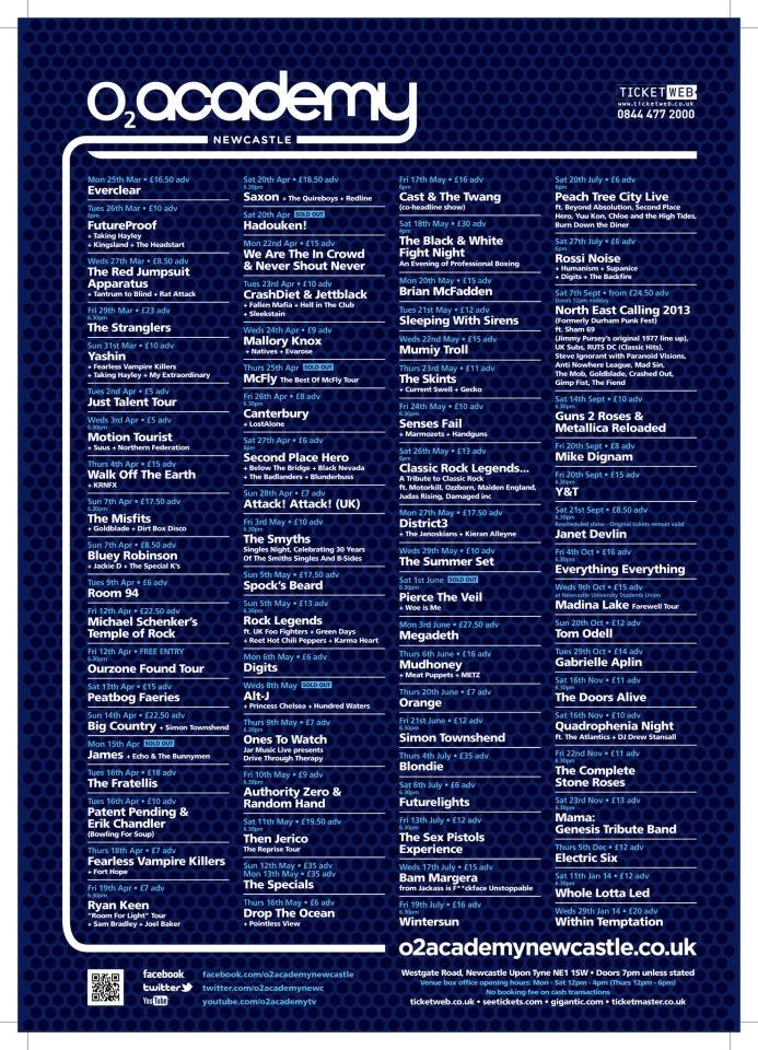 O2 Academy Westgate Road Newcastle upon Tyne NE1 1SW Gig Listings