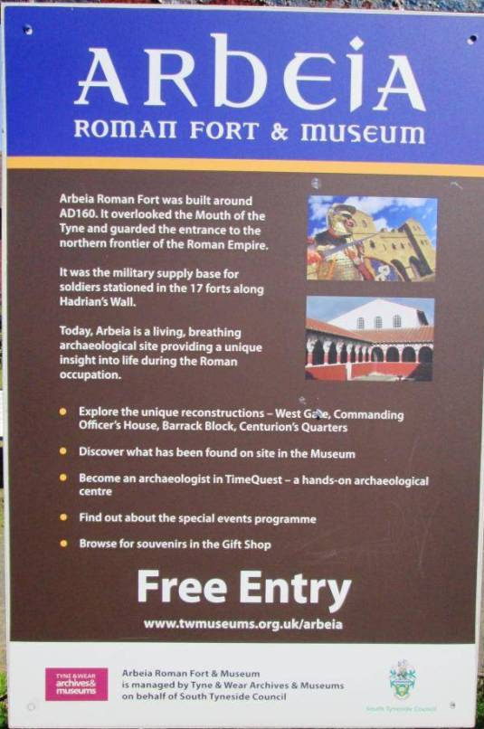 Arbeia Roman Fort Sign