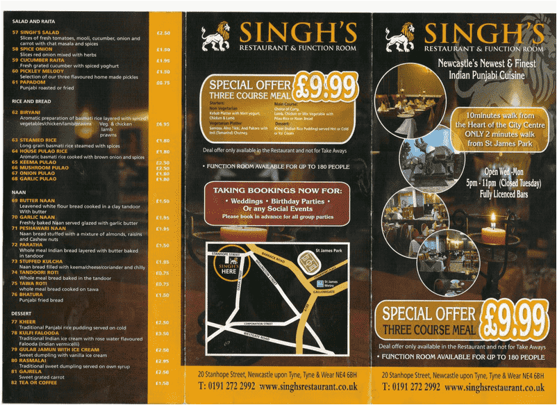 Singh's Indian Restaurant NE4 Menu 1