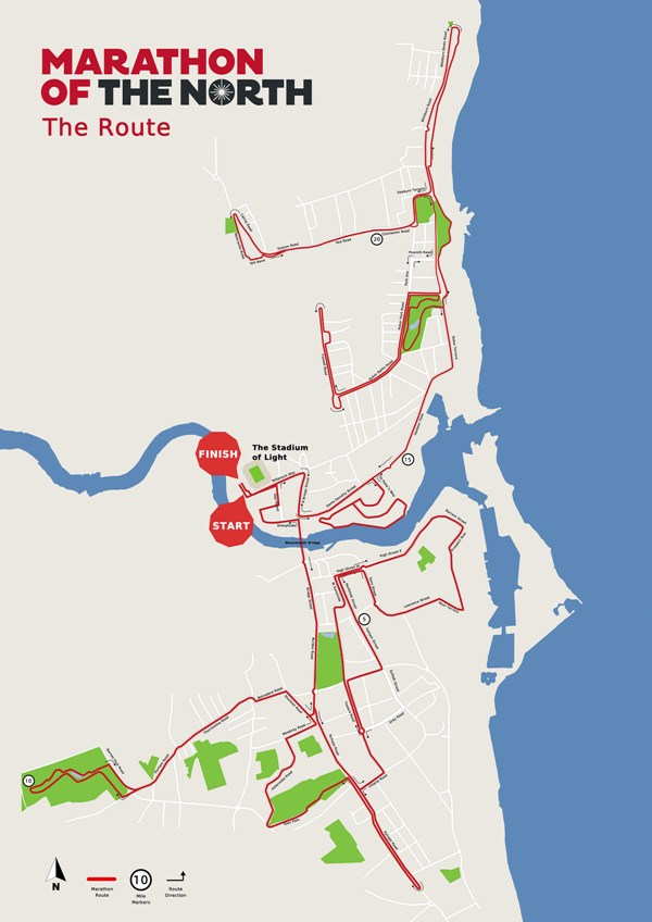 Sunderland Marathon of the North Marathon Route Map