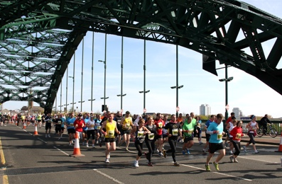 Sunderland Marathon of the North Runners Crossing Wearmouth Bridge in Sunderland