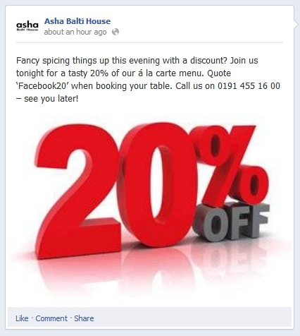 Asha Balti House Ocean Road Facebook Offer