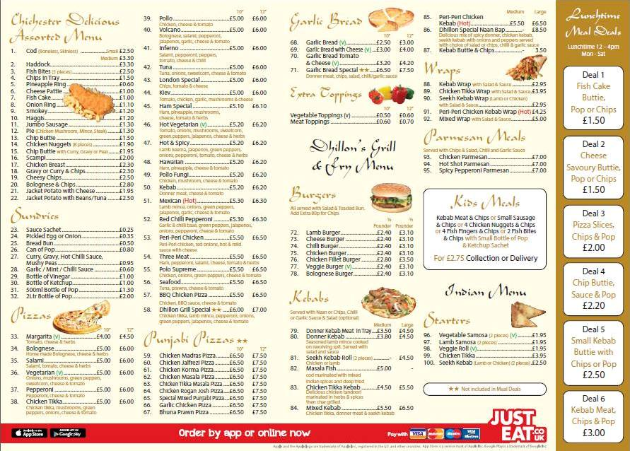 Dhillon's Grill and Fry 325 327 Laygate South Shields NE33 4JB Menu 2