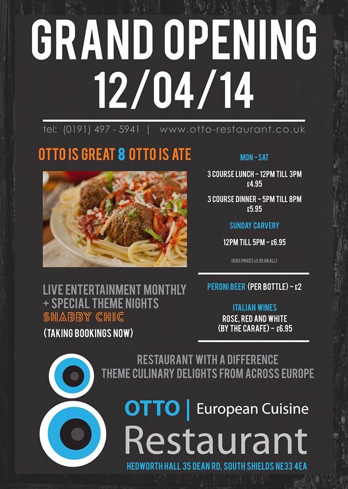 Otto Restaurant 34-35 Dean Road South Shields NE33 4EA Flyer