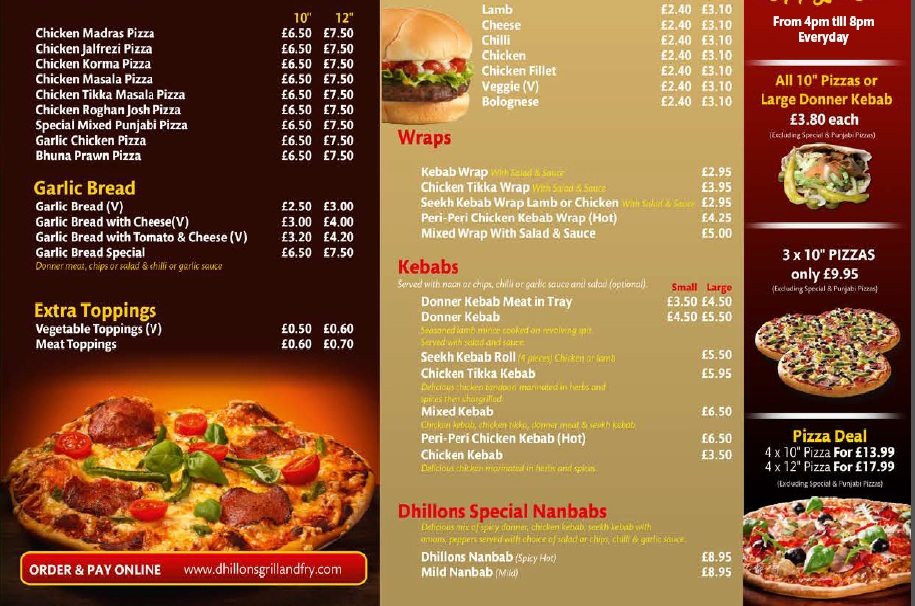 Dhillon's Grill and Fry 325 327 Laygate South Shields NE33 4JB Menu 3