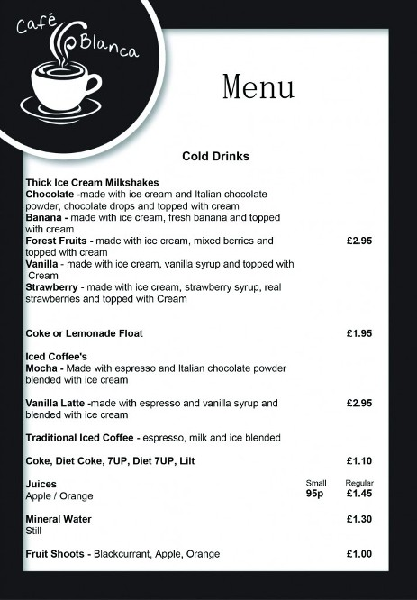 Cafe Blanca Harton Village South Shields Cold Drinks Menu