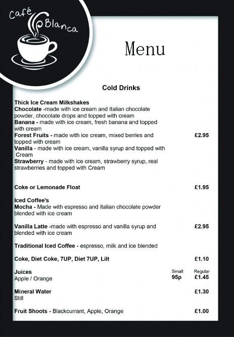 Cafe Blanca Harton Village South Shields Cold Drinks Menu