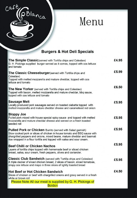 Cafe Blanca Harton Village South Shields Food Menu 1