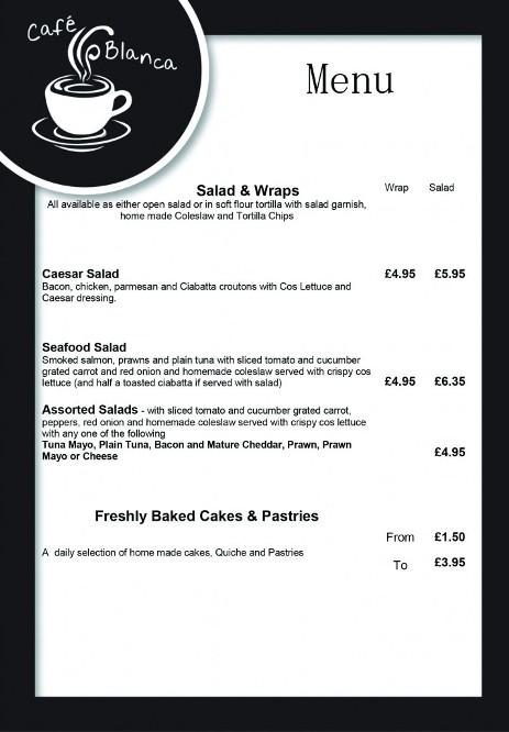 Cafe Blanca Harton Village South Shields Food Menu 2