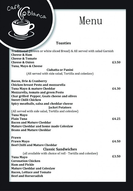 Cafe Blanca Harton Village South Shields Food Menu 3