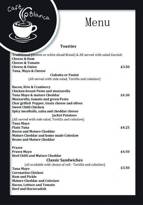 Cafe Blanca Harton Village South Shields Food Menu 3