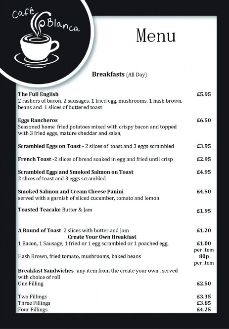 Cafe Blanca Harton Village South Shields Food Menu 4