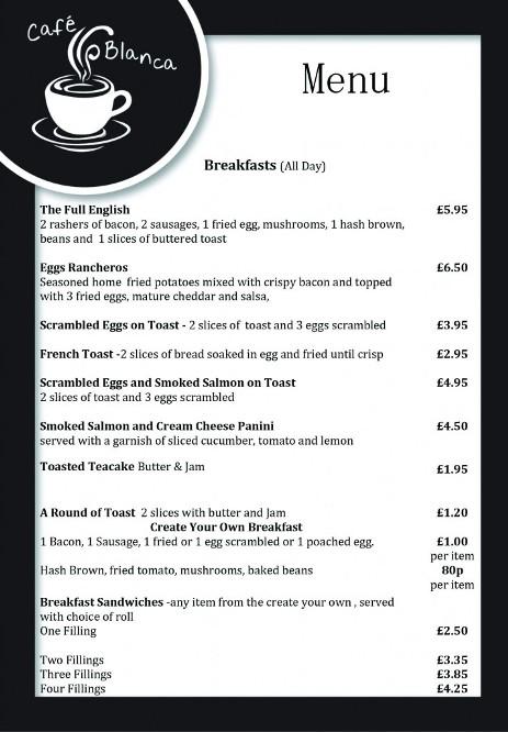 Cafe Blanca Harton Village South Shields Food Menu 4