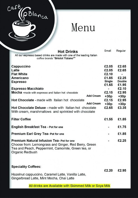 Cafe Blanca Harton Village South Shields Hot Drinks Menu