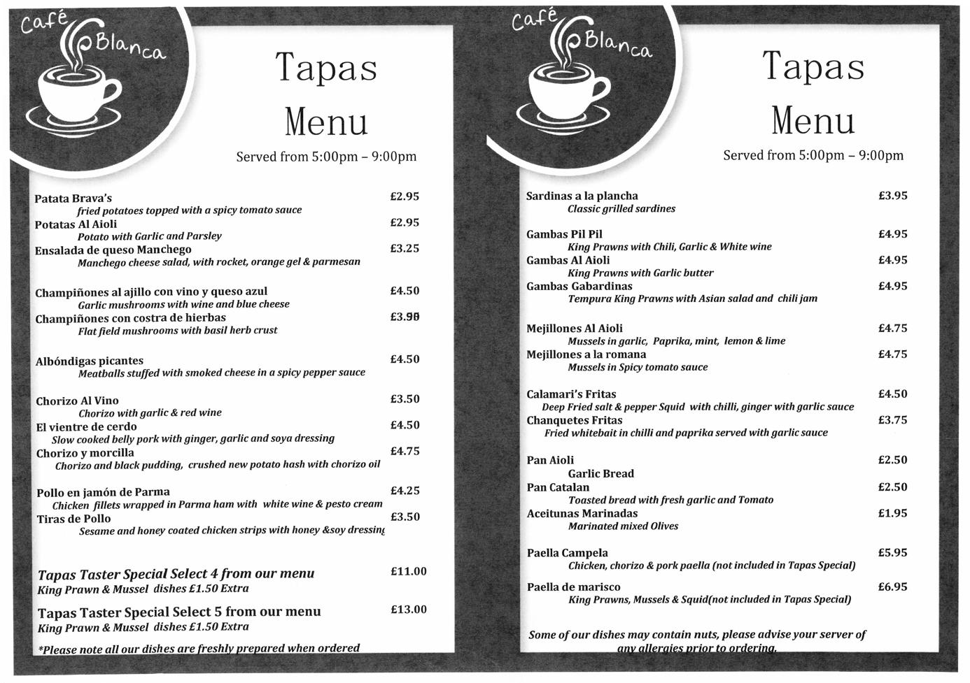 Cafe Blanca Harton Village South Shields Tapas Menu Large