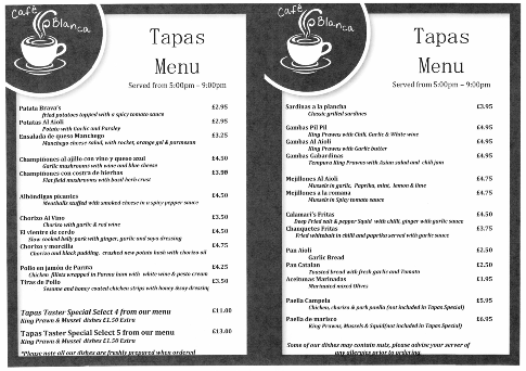 Cafe Blanca Harton Village South Shields Tapas Menu Small
