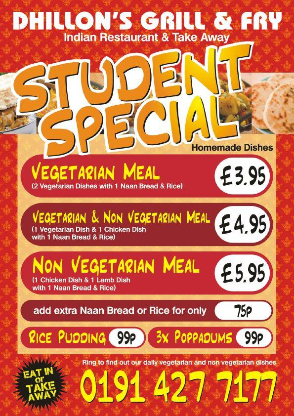 Dhillon's Grill and Fry 325 327 Laygate South Shields NE33 4JB Student Special