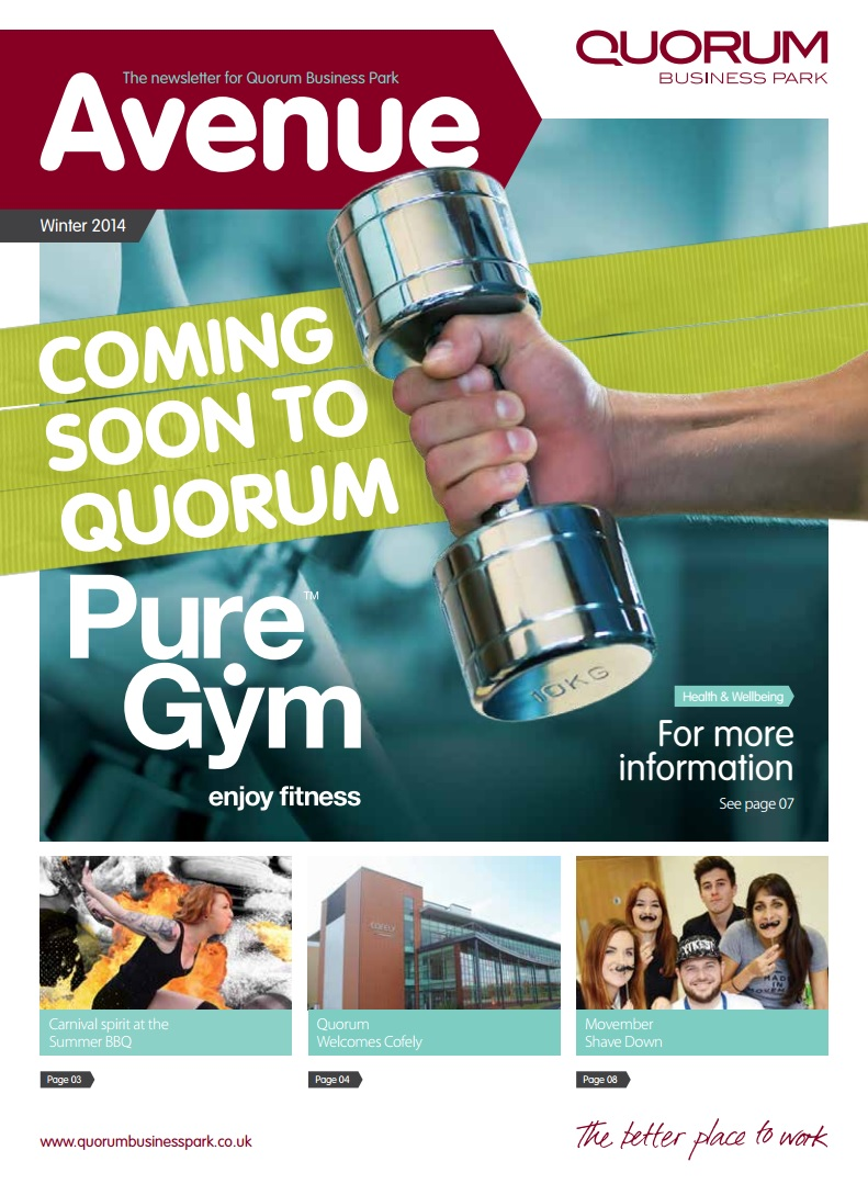 Quorum Business Park Newsletter Winter 2014 Cover