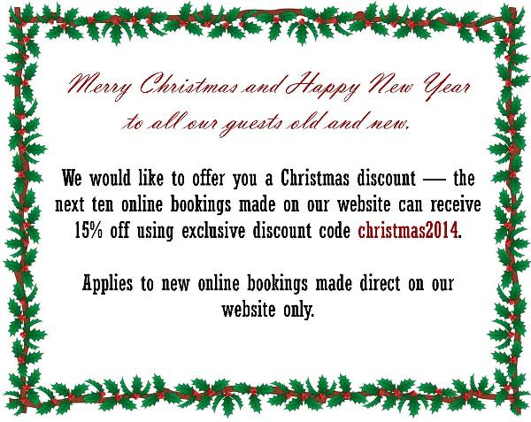 Annie's Guest House Special Offer Christmas 2014