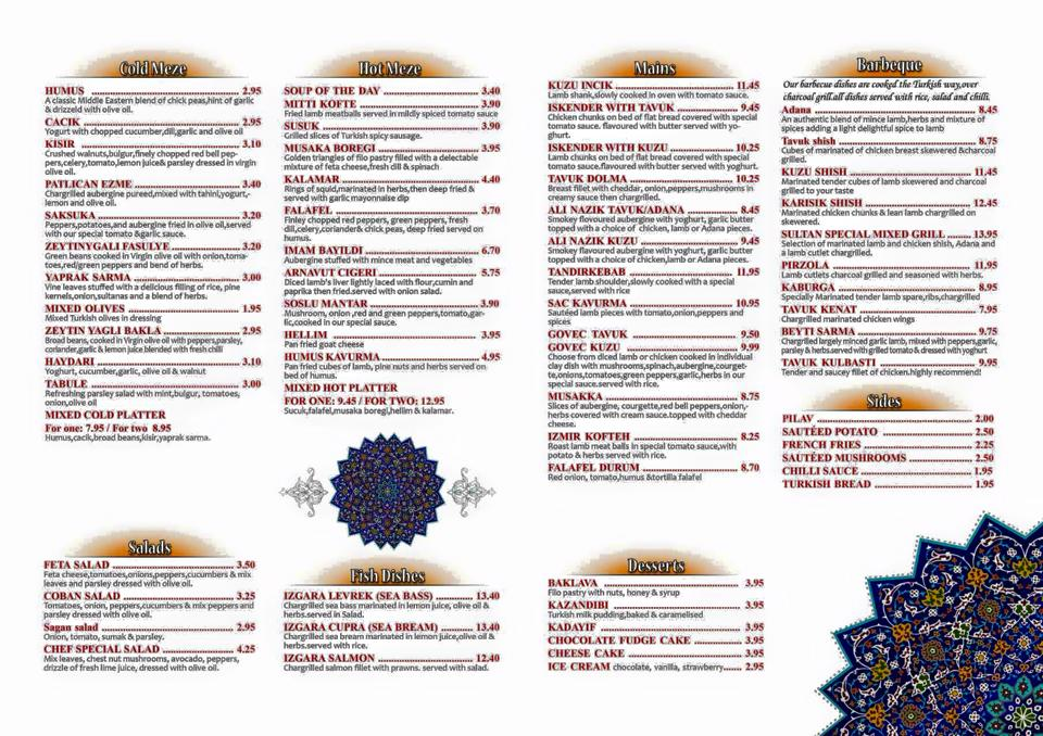 Sultan Turkish Restaurant Ocean Road South Shields Menu Large