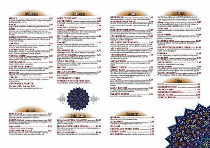 Sultan Turkish Restaurant Ocean Road South Shields Menu