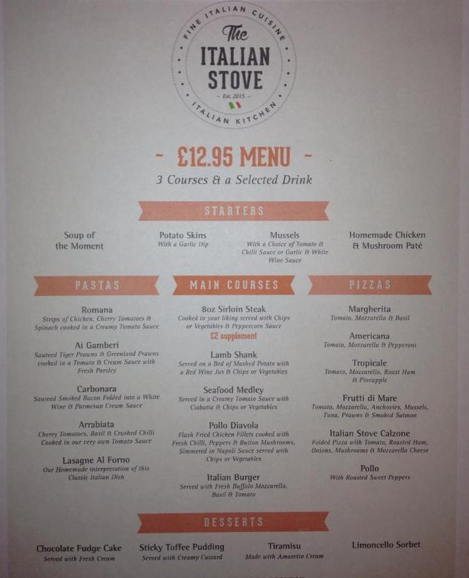 The Italian Stove Ocean Road South Shields £12.95 Menu Large