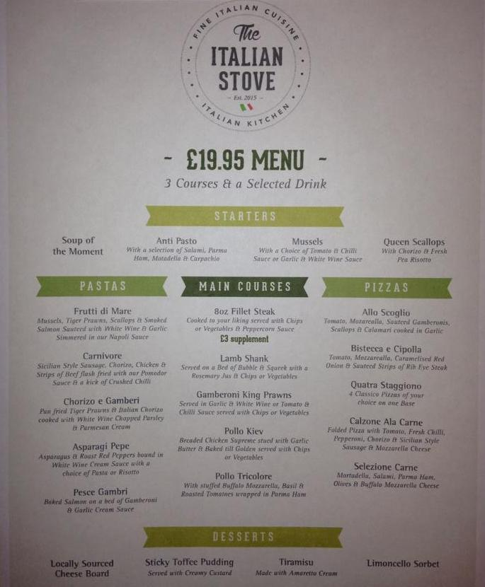 The Italian Stove Ocean Road South Shields £19.95 Menu Large