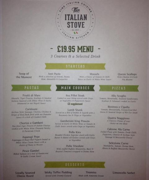 The Italian Stove Ocean Road South Shields £19.95 Menu Small