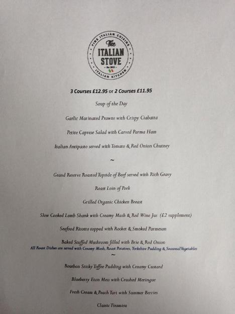 The Italian Stove Ocean Road South Shields Sunday Lunch Menu Small