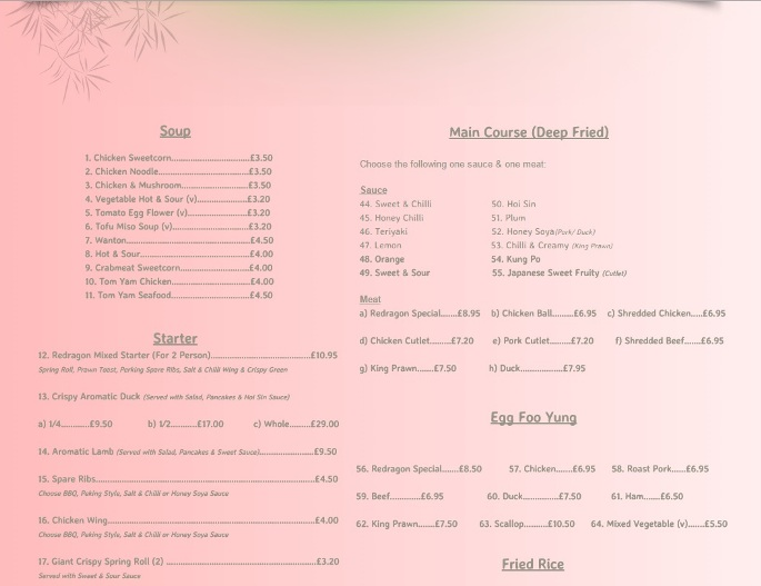 Redragon Chinese Restaurant Burrow Street South Shields NE33 1PP Menu 1