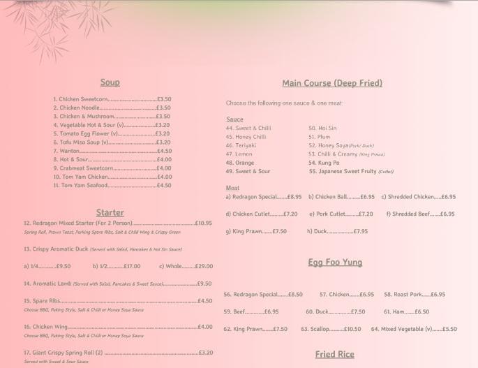 Redragon Chinese Restaurant Burrow Street South Shields NE33 1PP Menu 1