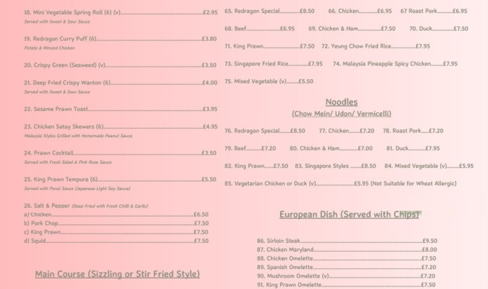 Redragon Chinese Restaurant Burrow Street South Shields NE33 1PP Menu 2