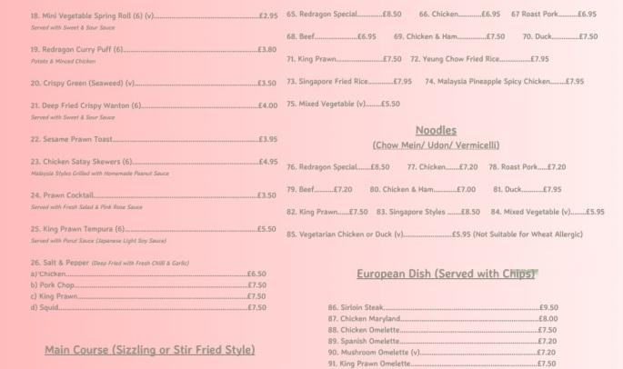 Redragon Chinese Restaurant Burrow Street South Shields NE33 1PP Menu 2