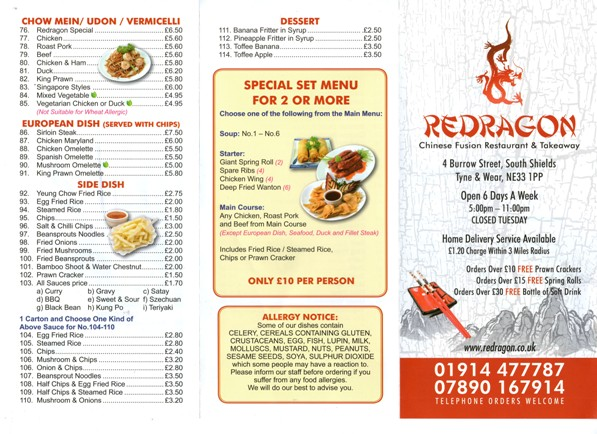 Redragon Chinese Restaurant Burrow Street South Shields NE33 1PP Take Away Menu 1
