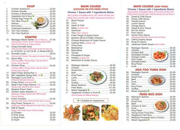 Redragon Chinese Restaurant Burrow Street South Shields NE33 1PP Take Away Menu 2