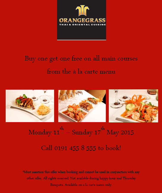 Orangegrass Thai Restaurant In South Shields Special Offer