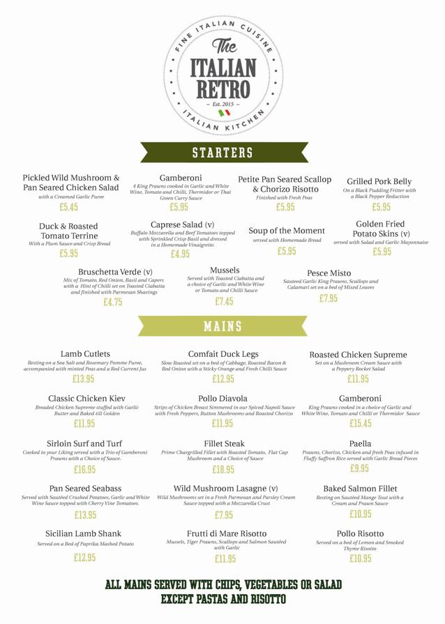The Italian Retro Stanhope Road South Shields NE33 4SS Main Menu