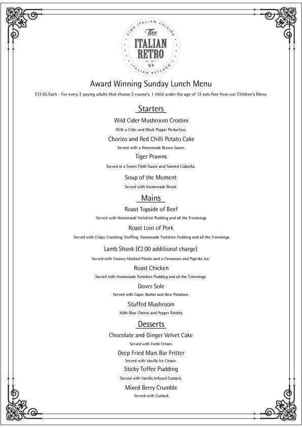 The Italian Retro Stanhope Road South Shields NE33 4SS Sunday Lunch Menu