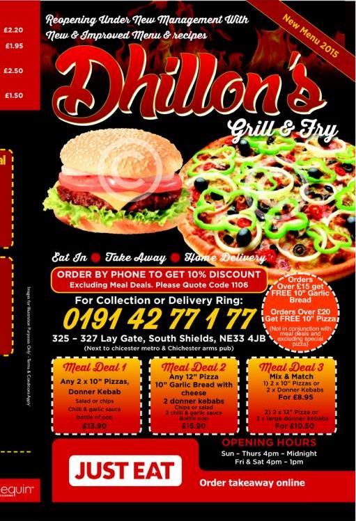 Dhillon's Grill and Fry 325 327 Laygate South Shields NE33 4JB Menu 1