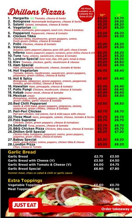 Dhillon's Grill and Fry 325 327 Laygate South Shields NE33 4JB Menu 4