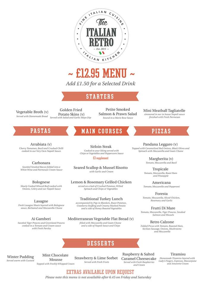 The Italian Retro Stanhope Road South Shields NE33 4SS £12.95 Menu